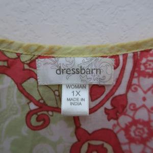 dressbarn Tops - Dressbarn Red Yellow Floral Crochet Studded Top